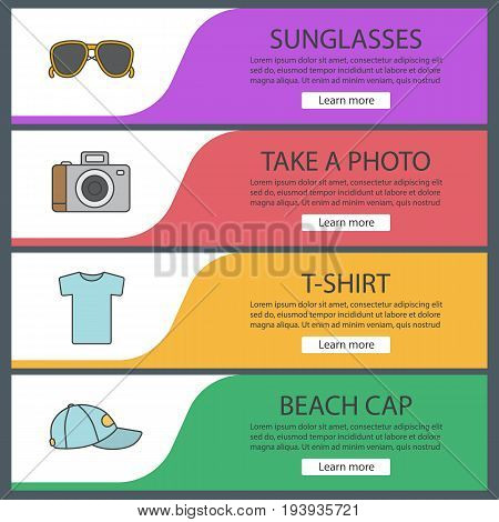 Summer items web banner templates set. Sunglasses, photo camera, t-shirt, beach cap. Website color menu items. Vector headers design concepts