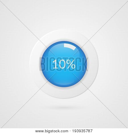 10 percent blue white pie chart. Percentage vector infographics. Ten Circle diagram isolated symbol. Business illustration icon for marketing presentation project data report information plan web design