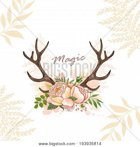 Beautiful vector horns with flowers. Hand drawn boho chic style design elements with deer antler, watercolor, roses, flowers isolated on white background