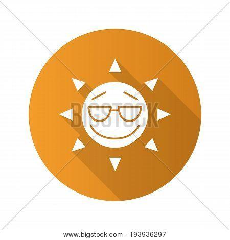 Cool sun smile flat design long shadow glyph icon. Summertime. Good mood emoticon. Vector silhouette illustration