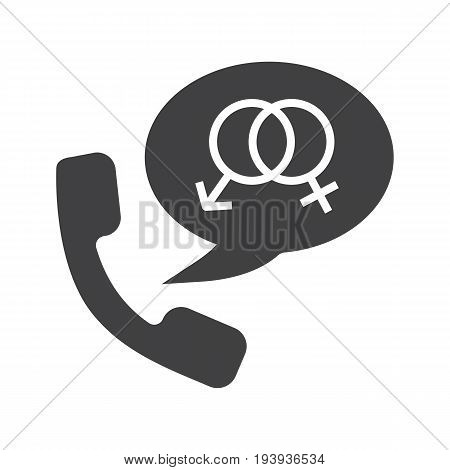 Phone sex glyph icon. Silhouette symbol. Handset with man and woman gender signs inside speech bubble. Negative space. Vector isolated illustration
