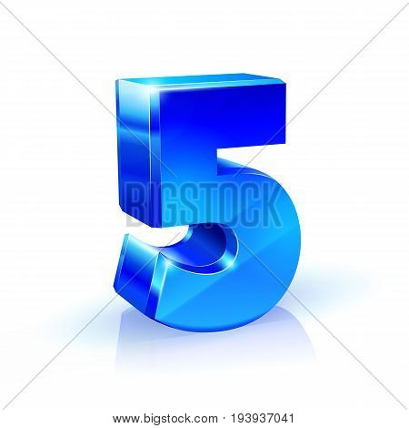 Glossy blue Five 5 number. 3d Illustration on white background. Vector