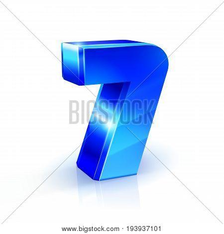 Glossy blue Seven 7 number. 3d Illustration on white background. Vector