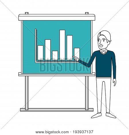 color sections silhouette of businessman in formal clothes with hairstyle side fringe making presentation vector illustration