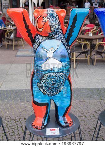 BERLIN GERMANY - JULY 3 2017: United Buddy Bears: Turkey Bear At Wittenbergplatz Square In Berlin