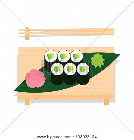 Maki sushi with avocado served on wooden board with leaf, ginger, wasabi and chopsticks near. Vector illustration of sushi roll in simple flat projection style on white background for your design.