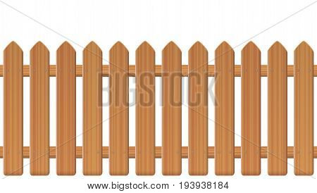 Picket fence, wooden textured, rounded edges - seamless extendable to endless pattern - isolated vector illustration on white background.