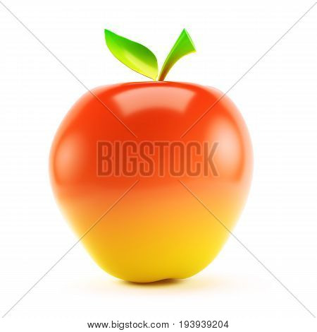 Ripe red apple isolated on white background. 3d rendering