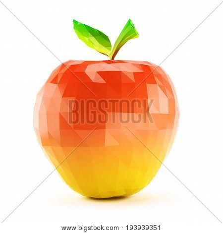 Low poly apple isolated on white background. 3d rendering