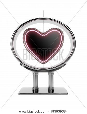 Neon heart shape in metal frame isolated on white background. 3d rendering