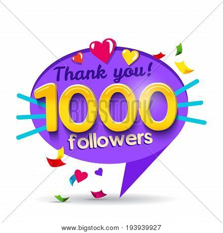 Thank you 1000 followers network card. Vector design template for friends, subscribers and followers. Banner for Social Networks. Card for user who celebrates a big number of followers.