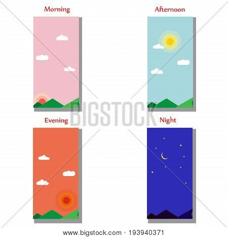 The theme of the day, morning, evening, night for Your application. Vector illustration.