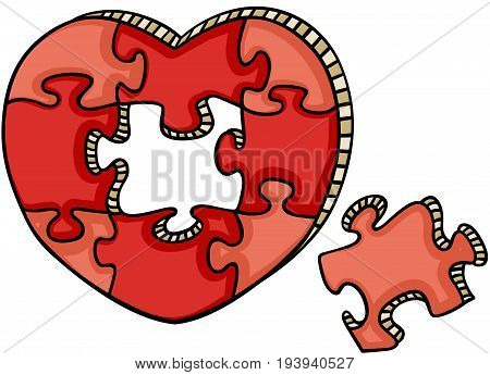 Scalable vectorial image representing a heart shaped puzzle, isolated on white.