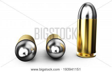 Set of ammo shells. 3d image isolated on white