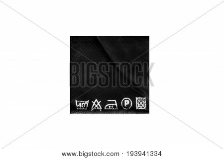 Washing instructions black clothes label on white background