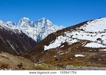 Beautiful view of the Himalayan mountains near Machhermo village on the way to Gokyo Lakes Nepal