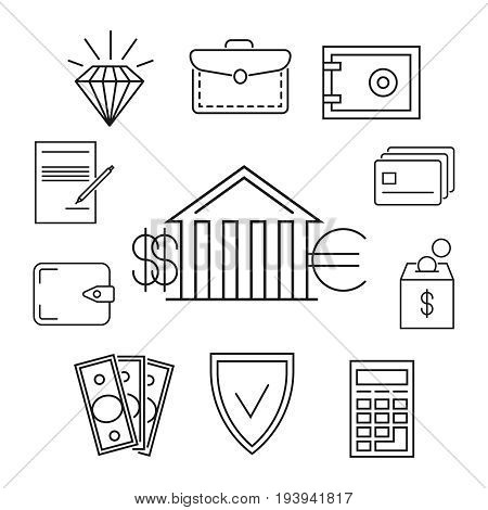 Save money or finance line art concept. Investment and wealth, vector illustration