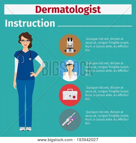 Medical equipment instruction manuals with icons for dermatologist. Vector illustration