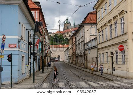 Prague, Czech Republic - June 4, 2017 Street in the Mala Strana, Prague