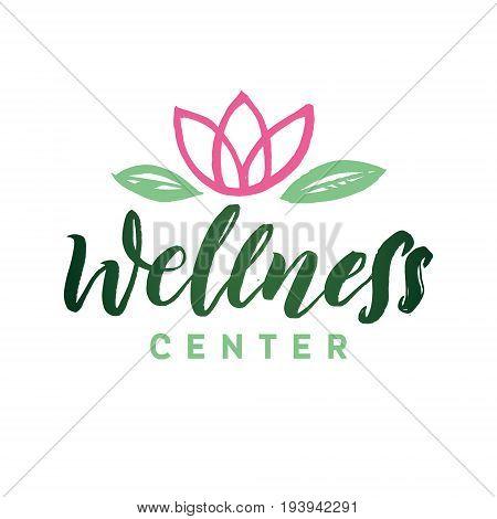 Wellness Center Vector Logo. Stroke Pink Water Lilly Flower Illustration. Brand Lettering.