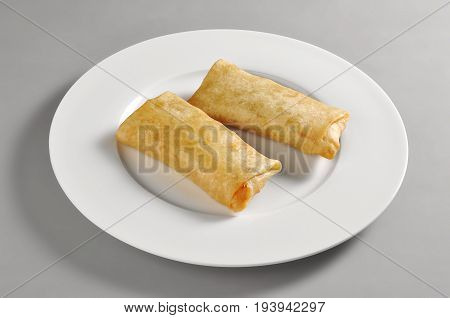 Round dish with dim sum spring rolls isolated on grey background