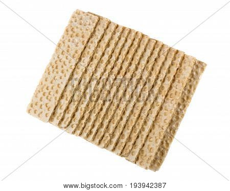 Stack Of Crispbread Isolated On White Background