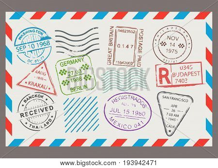 Post stamp flat cartoon set. Letter design, scrapbook border with envelope format, correspondence image. Vector illustration isolated on white background