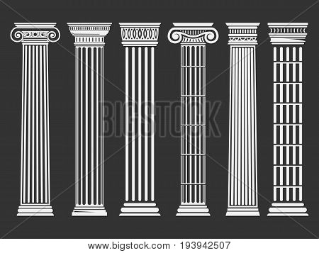 Roman and Greek columns set. Architecture image, history and culture concept. Classical buildings and shape. Vector flat style illustration isolated on black background