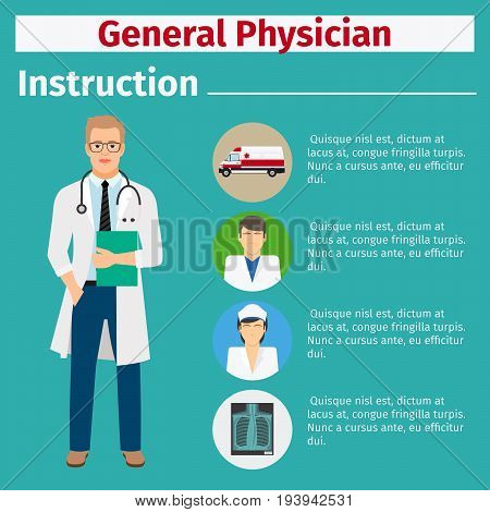 Medical equipment instruction manuals with icons for general physician. Vector illustration