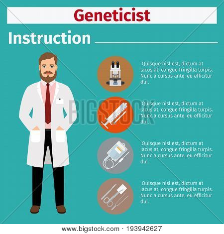 Medical equipment instruction manuals with icons for geneticist. Vector illustration