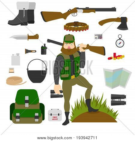 Hunter with set of amunition isolated. Gun, knife, axe, first aid kit, map, patrontage, bandolier, flask, pot compass bullets rope Flat vector illustration EPS10