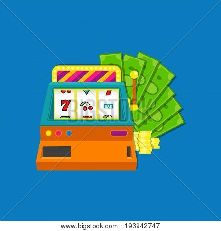 Slot machine flat vector illustration with bundle of cash aid coins. Colored on blue background. EPS10