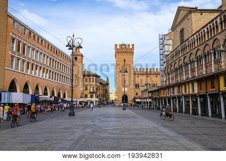 Ferrara, Italy - June, 30, 2017: Piazza della Cattedrale - the central square of Ferrara, Italy