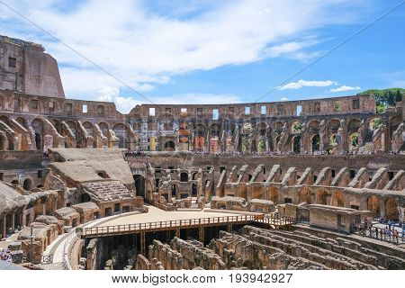 Roma, Italy - July, 2, 2017: interior of Colosseum, ancient Roman amphitheater, one of the main sights of Rome