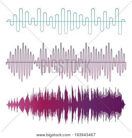 Colorful sound waves vector isolated on white background. Illustration graphic sound wave
