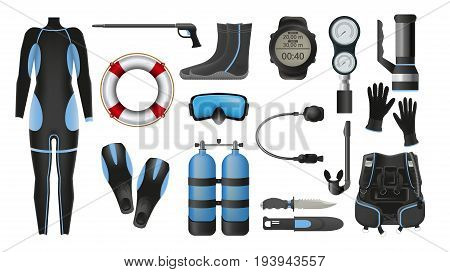 Equipment for diving. Illustrations of diving suit, an underwater mask, spear gun, snorkel, fins, flashlight and aqualung. Scuba gear and accessories.