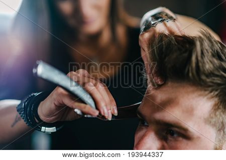 Hair Styling In Hair Salon, Toned Image, Close Up