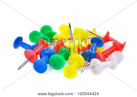 pile of colorful plastic pushpin isloated on white background