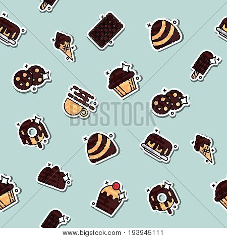 Chocolate concept icons pattern. Tasty chocolate. Drips chocolate. Vector illustration, EPS 10