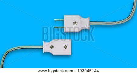 AC power plug with electrical cable. Isolate on blue background.