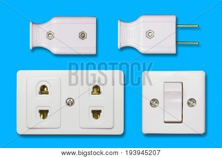 Many AC power appliances for home use. Isolate on blue background.