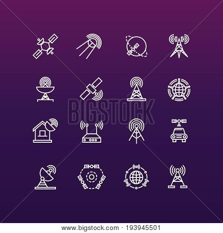 Satellite and orbit communication thin line icons set. Communication global satellite, vector illustration