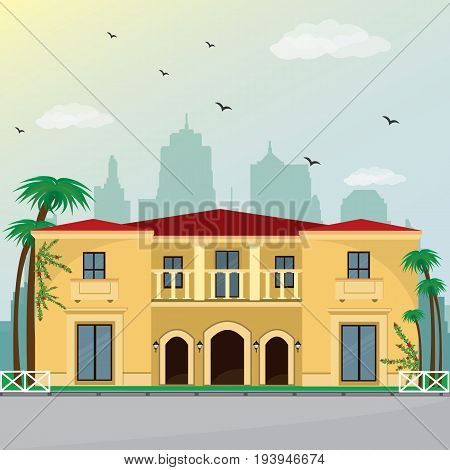 Villa facade design with city background. Colorful building. Flat style vector illustration.