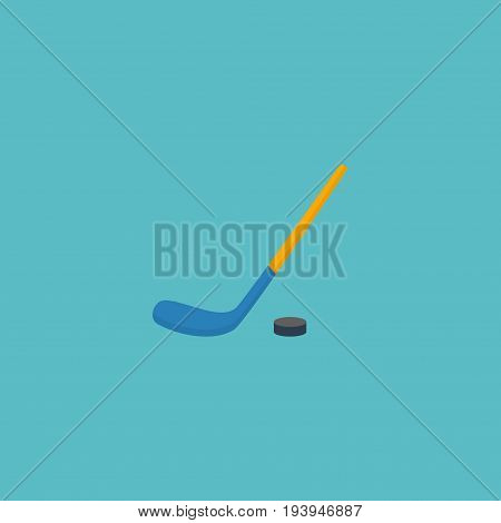 Flat Icon Hockey Stick Element. Vector Illustration Of Flat Icon Puck  Isolated On Clean Background. Can Be Used As Hockey, Stick And Puck Symbols.
