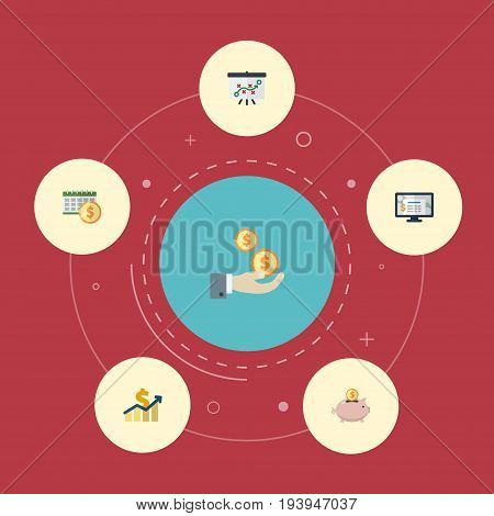 Flat Icons Accounting System, Profit, Tactics And Other Vector Elements. Set Of Accounting Flat Icons Symbols Also Includes Net, Whiteboard, Saving Objects.