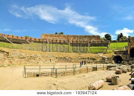 Taormina ME Italy may 2012: The famous and beautiful ancient greek theatre ruins Taormina Sicily Italy