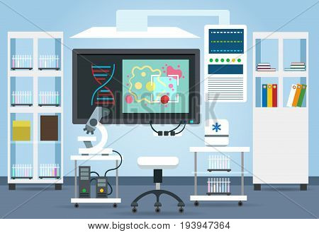 Biological research lab interior vector illustration. Science laboratory room for biology and chemistry experiments