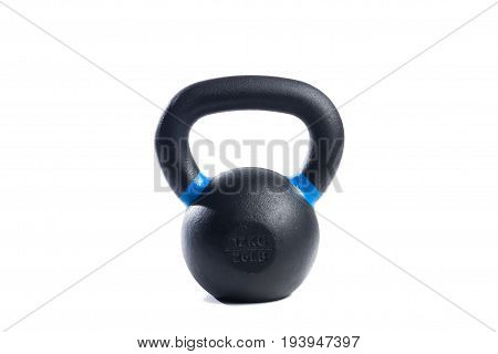 Black metal weight on isolated white background