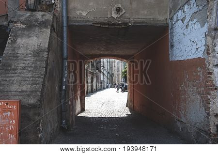 LUBLIN POLAND-22 june 2017-small tunnel between tenements in Lublin old town
