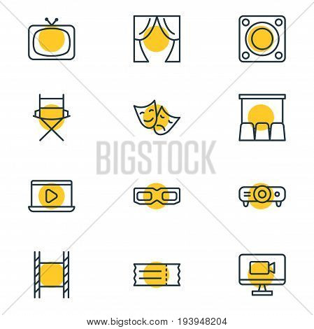 Vector Illustration Of 12 Movie Icons. Editable Pack Of Tv, Hall, Theater And Other Elements.